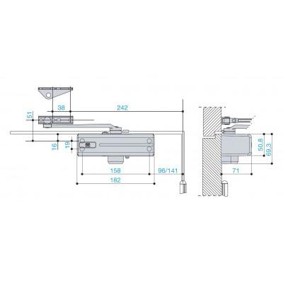 Chiudiporta L1250mm MAB 564